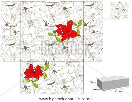Template for box with spring flowers