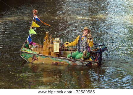 Amsterdam - Unknown Musician In A Boat