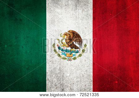 National Flag Of Mexico With Grunge Effect
