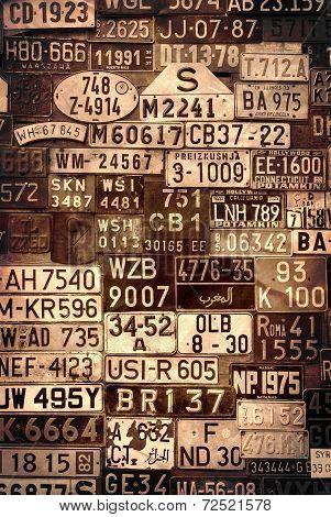 Sepia License Plates