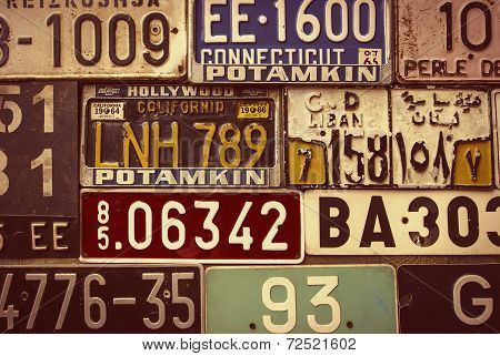 Sepia Toned License Plates