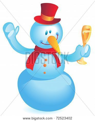 Snowman With Wineglass