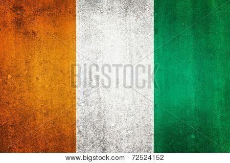 National Flag Of Ivory Coast. Grungy Effect.