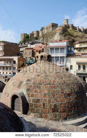 Famous Tbilisi Landmarks - Medieval Sulphur Bathes In Abanotubani,meidan Square,and Narikala Fortres