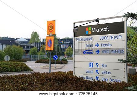 Microsoft Signage And Corporate Building In Salo, Finland