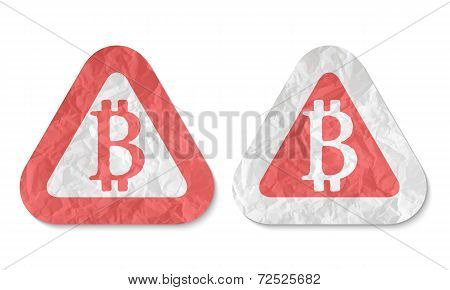 Triangles With A Texture Of Crumpled Paper And Bit Coin Symbol