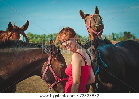Girl And Horses