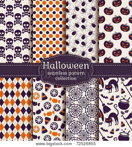Halloween Seamless Patterns. Vector Set.