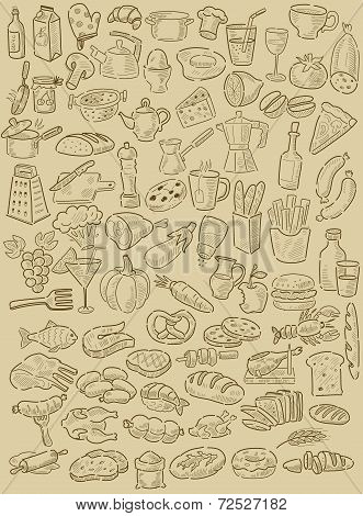 hand drawn food