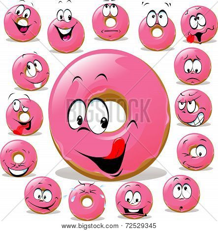 Donut Cartoon With Many Facial Expression Isolated On White Background