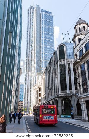 London -august 6:typical Double Decker Bus In The City Of London On August 6, 2014 In London.  The C