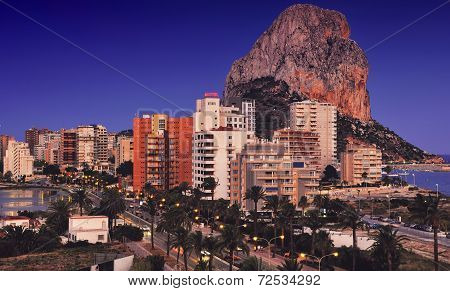 Calpe and the Penon de Ifach at Night
