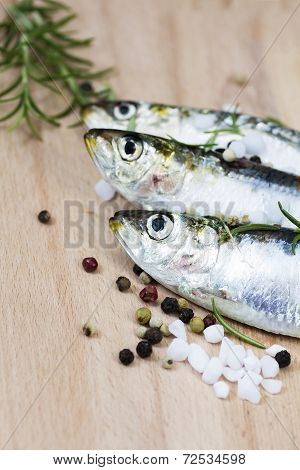 Fresh Sardine In A Table