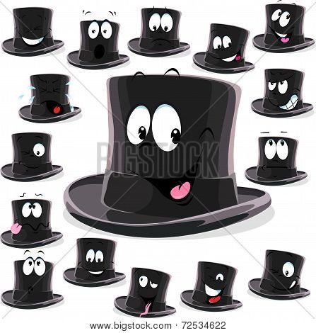 Black Top Hat Cartoon Isolated On White Background