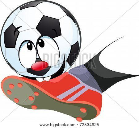 Kick The Ball Biting - Funny Vector Illustration