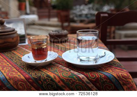Cup Of Turkish Tea And Glass Of Water