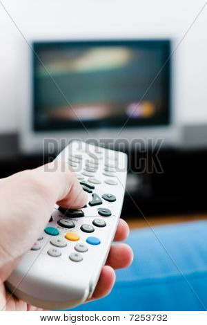 Hand With Remote  Tv Control
