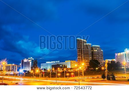 Night Scene Building In Minsk, Belarus