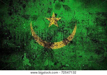 Grunge Flag Of Mauritania With Capital In Nouakchott