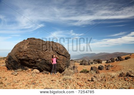 Tenerife - Woman Hiking On Teide
