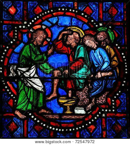 Jesus Washing Feet Of Saint Peter On Maundy Thursday - Stained Glass In Tours