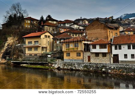 Sarajevo Old Town Cityscape by the river