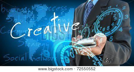Businessman Hand Holding Creative