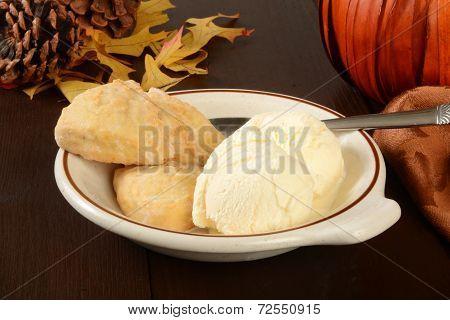 Pumpkin Scones And Vanilla Ice Cream