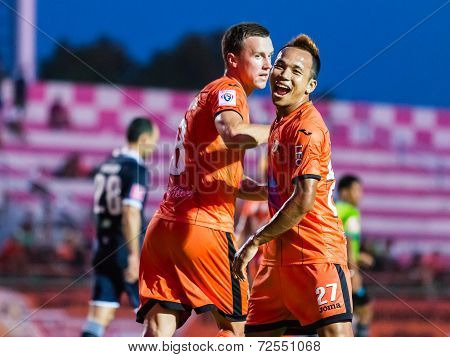 Sisaket Thailand-september 21: Jirawat Daokhao Of Sisaket Fc. In Action During Friendly Match Betwee