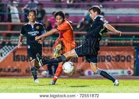Sisaket Thailand-september 21: Piyawat Thongman Of Sisaket Fc. Shooting Ball During Friendly Match B
