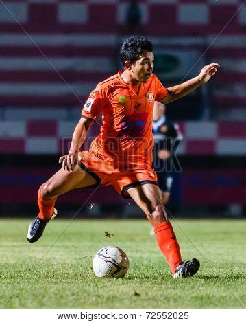 Sisaket Thailand-september 21: Tadpong Lar-tham Of Sisaket Fc. In Action During Friendly Match Betwe