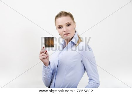Beautiful Young Woman Holding Blank