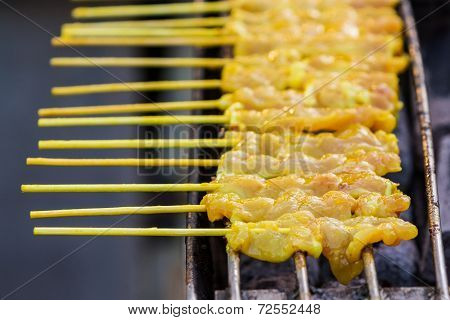 Grilled Satay Pork On Stove