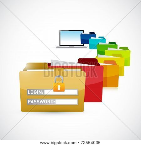Accessing Private Computer Files. Illustration