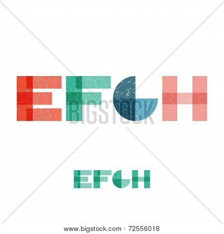 E F G H - Grunge Flat Alphabet Set
