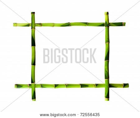 Green Bamboo Frame Isolated On White Background.