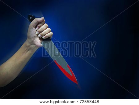 Holding Knife With Blood Dripping
