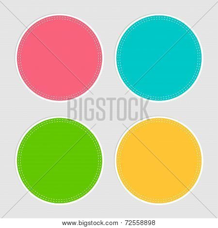 Four Round Tag Label Set With Dash Line In Flat Design Style. Template.