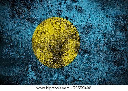 Grunge Flag Of Palau With Capital In Melekeok