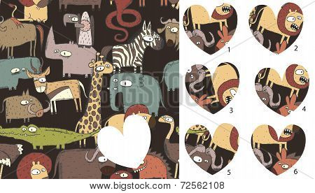 Animals Match Pieces, Visual Game. Solution In Hidden Layer!