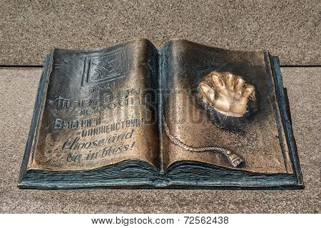 Almaty, Kazakhstan - a monument of a book on the Republic Square