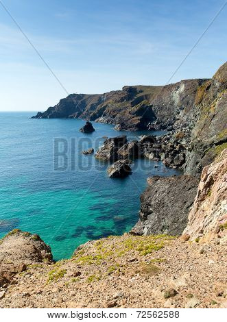 Kynance Cove The Lizard Cornwall England UK beautiful sunny summer day with blue sea