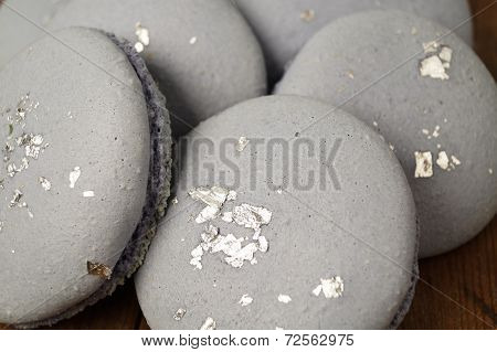 Blue Macaroons With Silver Dust