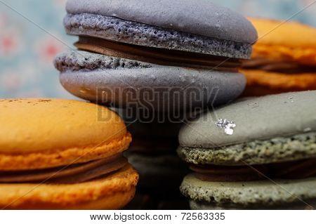 Orange And Blue Macaroons