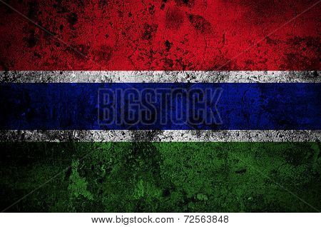 Grunge Flag Of The Gambia With Capital In Banjul
