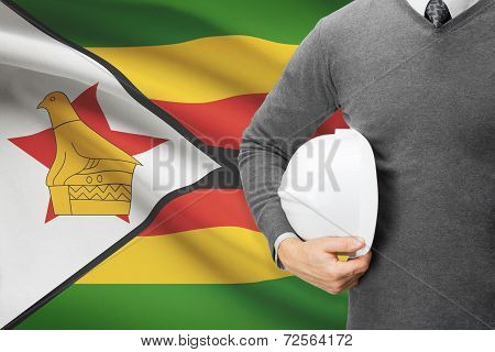 Architect With Flag On Background  - Zimbabwe