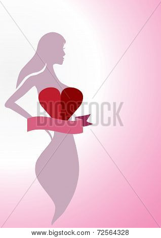 Sexy Woman Silhouette With Heart And Ribbon Isolated On Pink Background