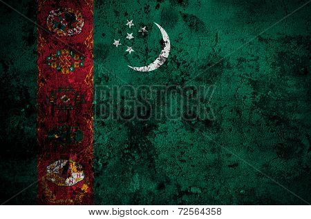 Grunge Flag Of Turkmenistan With Capital In Ashgaba