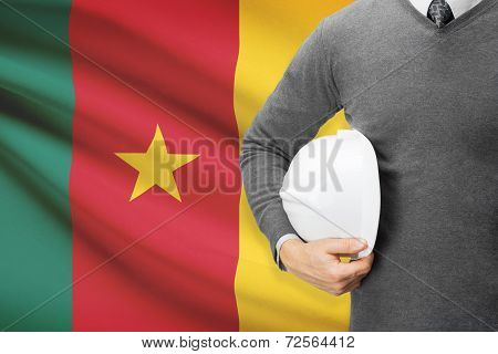 Architect With Flag On Background  - Cameroon
