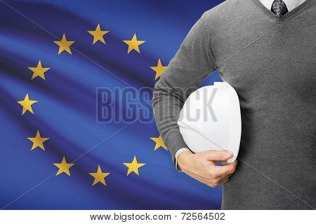 Architect With Flag On Background  - European Union